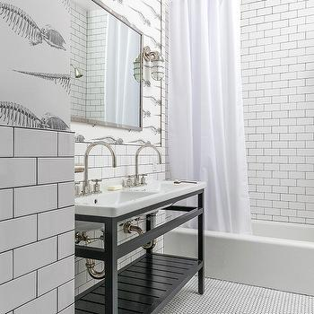 White Bathroom Tiles With Gray Grout Transitional Kitchen