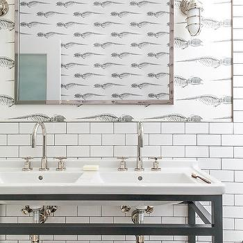 Black and white fish themed kids bathroom contemporary for Fish themed bathroom
