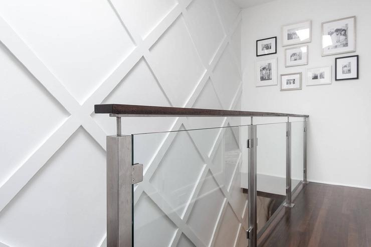 Glass Staircase railing with Diamond Pattern Wainscoted