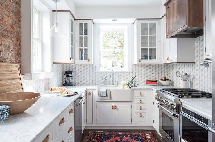White Kitchen Cabinets With Leather Hardware