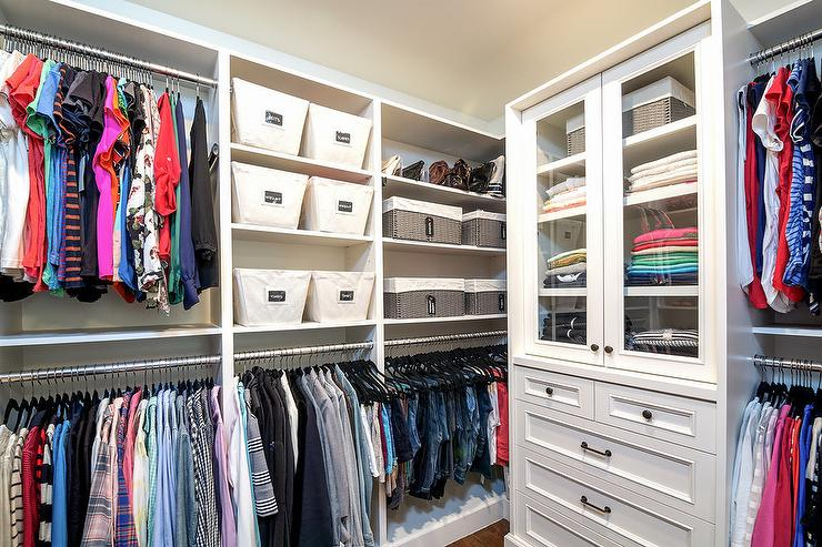 Walk In Closet With Glass Front Sweater Cabinet