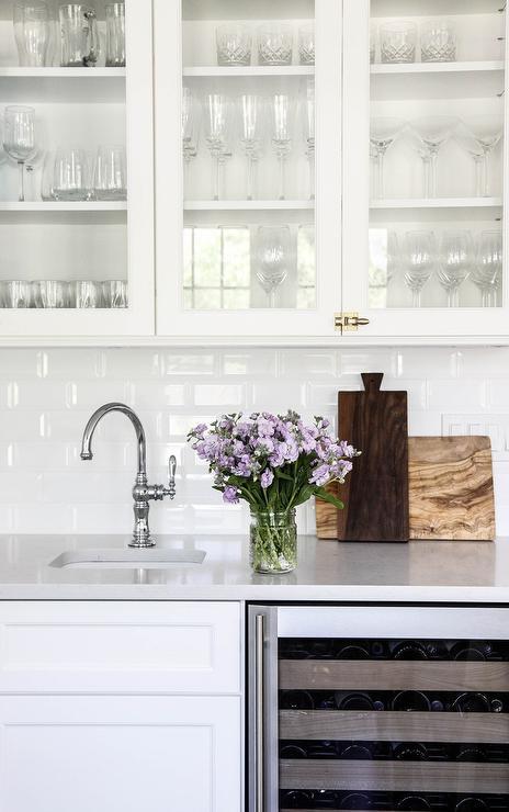 Kitchen Wet Bar With White Beveled Subway Tiles