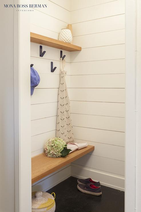 Astounding Mudroom With Floating Wood Bench And Shiplap Trim Squirreltailoven Fun Painted Chair Ideas Images Squirreltailovenorg