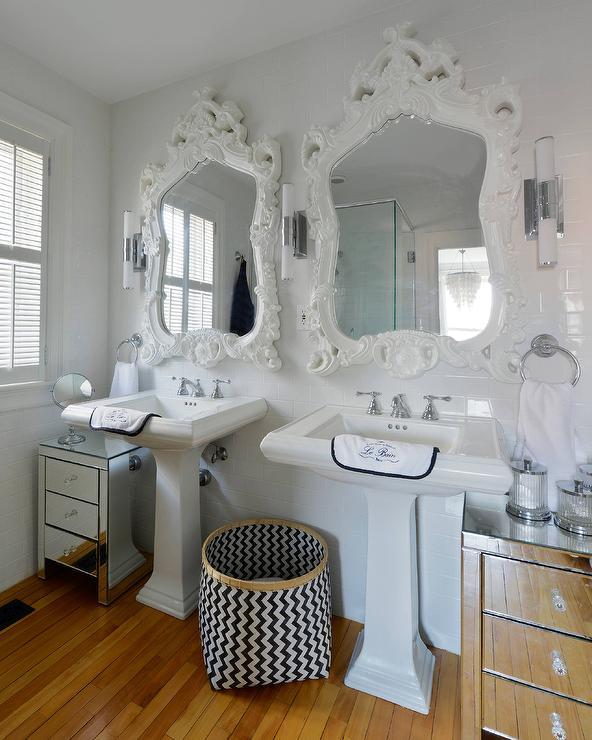 Black And White Bathroom With Super White Quartzite Counters