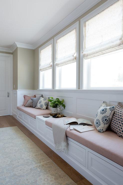 Long Bedroom Window Seat With Blush Pink Linen Cushions