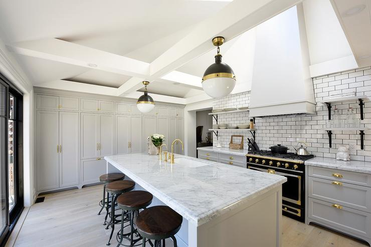 White And Gray Kitchen With Black French Stove Transitional Kitchen Benjamin Moore Smoke