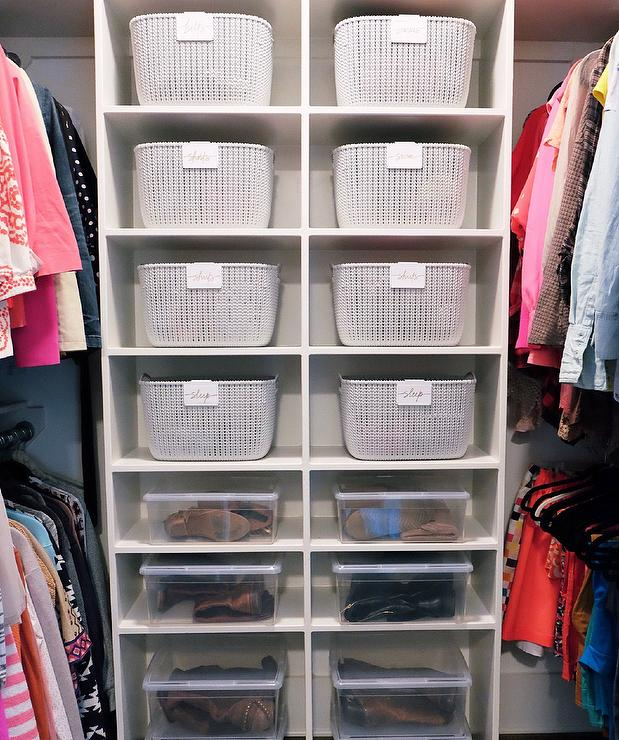 Walk In Closet With Plastic See Through Boot Boxes