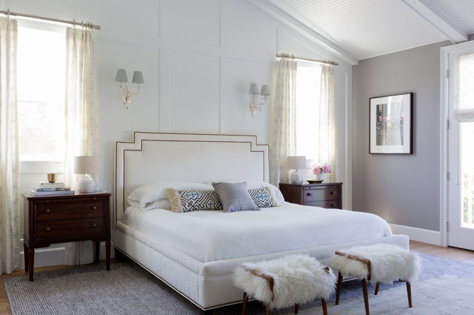 master bedroom with floor to ceiling wainscoting  transitional, Bedroom decor
