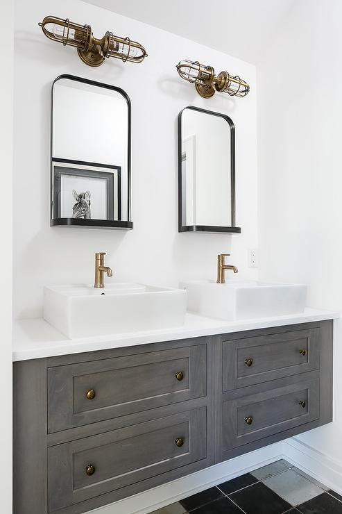 White And Gold Bathroom Sconces Transitional Bathroom