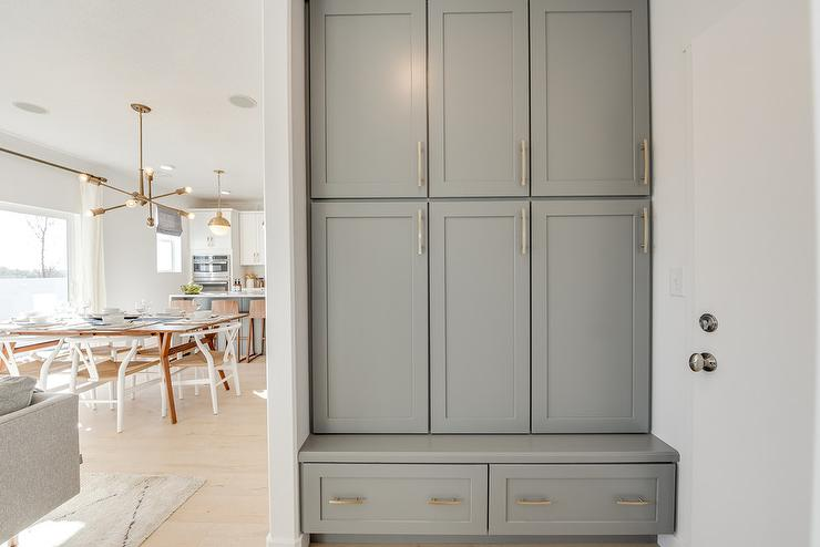Gray Mudroom Cabinets With Bench