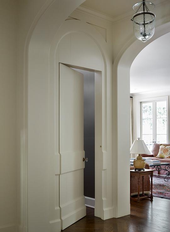 Hidden Powder Room Door Transitional Entrance Foyer