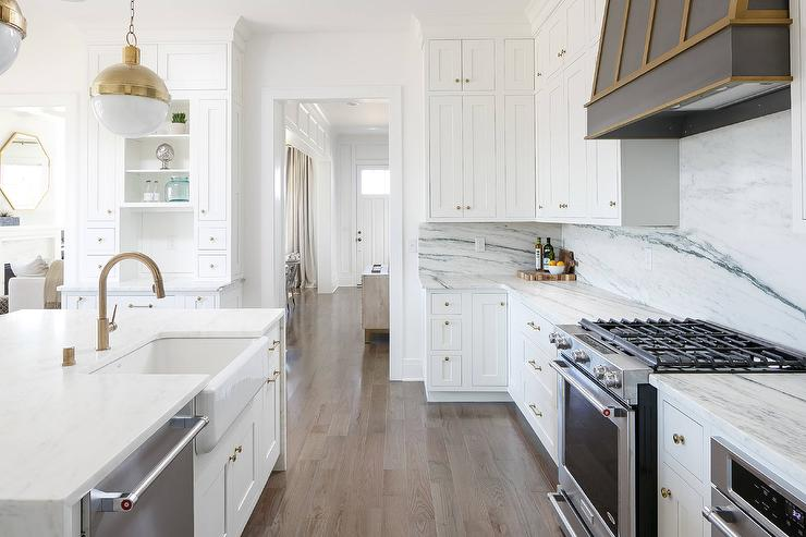 White Waterfall Island with Br Hardware - Transitional - Kitchen on