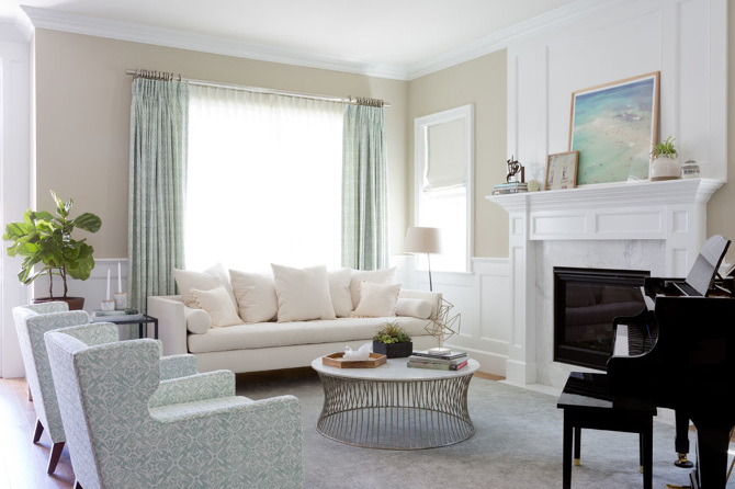 White And Blue Living Room With Piano