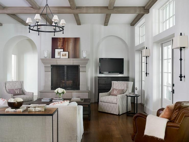 gorgeous living rooms. Gray Wash Wood Ceiling Beams with Limestone Fireplace