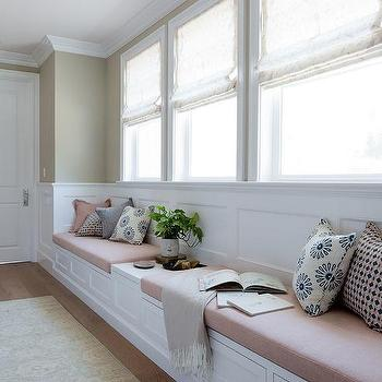 Long Bedroom Window Seat with Blush Pink Linen Cushions. Long White Bedroom Window Seat Design Ideas