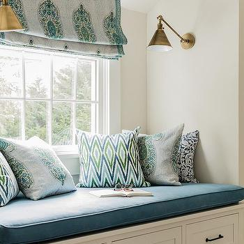 window seat pillows family room window built in window seat with blue paisley roman shade and grey pillows design ideas