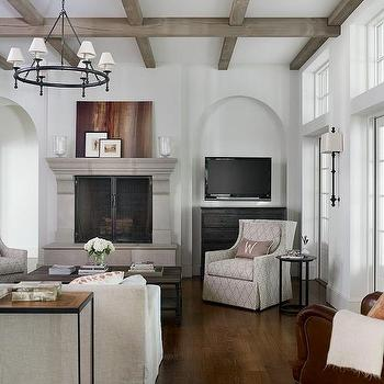Gray Wash Wood Ceiling Beams With Limestone Fireplace