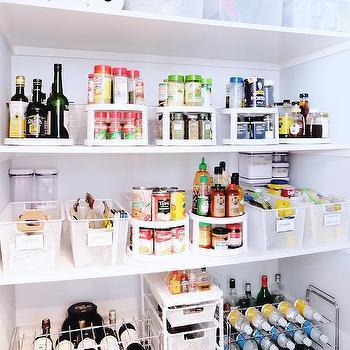 Labeled Plastic Pantry Storage Bins Design Ideas