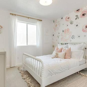 Gray And Pink Rose Girl Bedroom Wallpaper Design Ideas