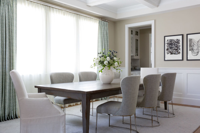 Walnut Stained Dining Table With Gray Linen Chairs