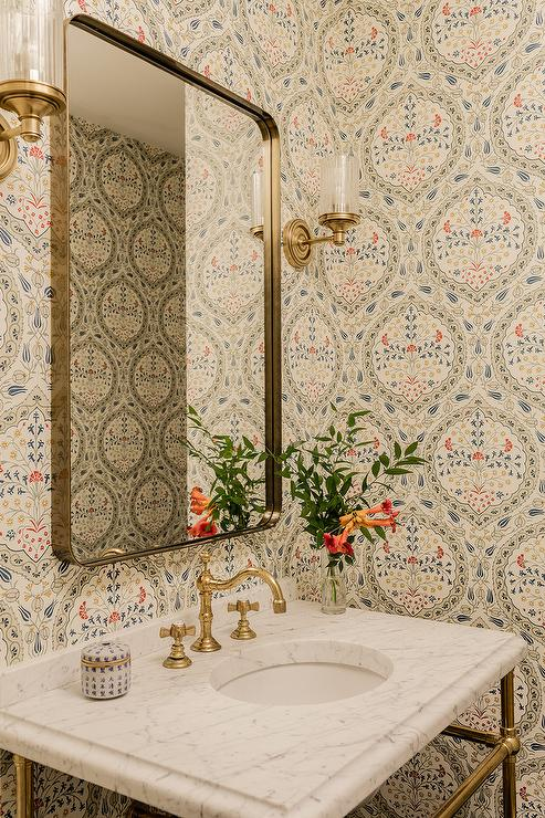 Marble And Brass Washstand With Brass Curved Mirror Transitional Bathroom