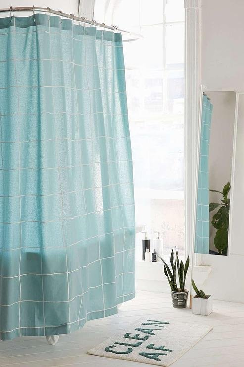 Wonky Aqua Grid Shower Curtain