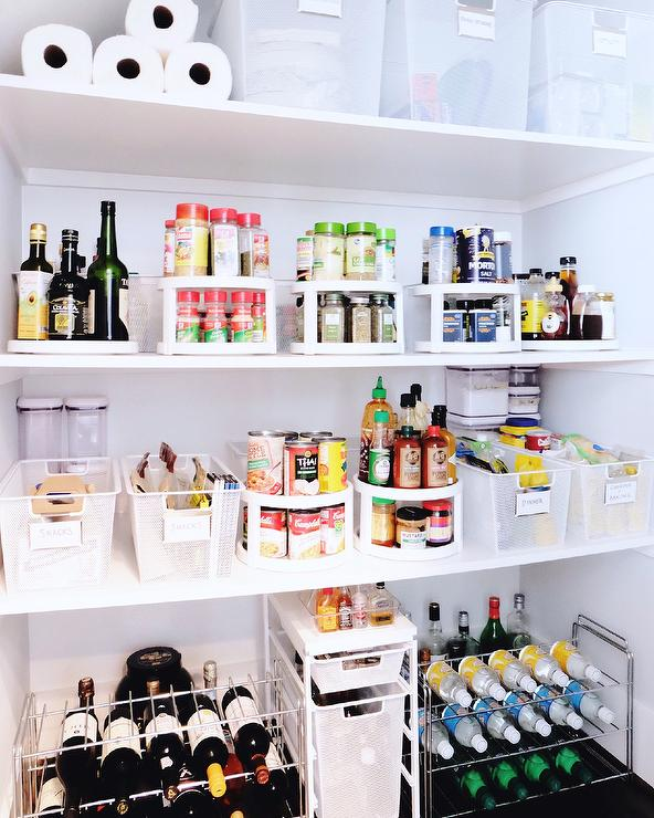 Effective Pantry Shelving Designs For Well Organized: Styled Kitchen Pantry With Freestanding Wine Racks