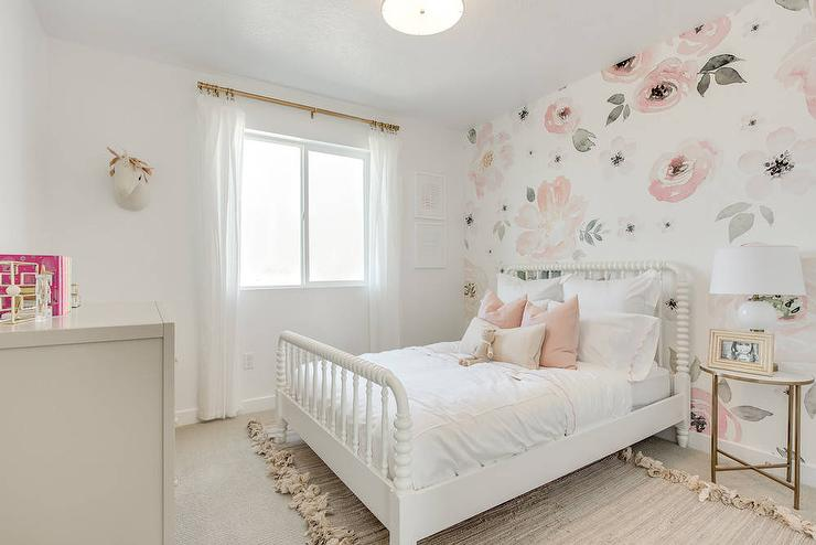 White And Pink Girl Room With Accent Wall Transitional Girl S Room