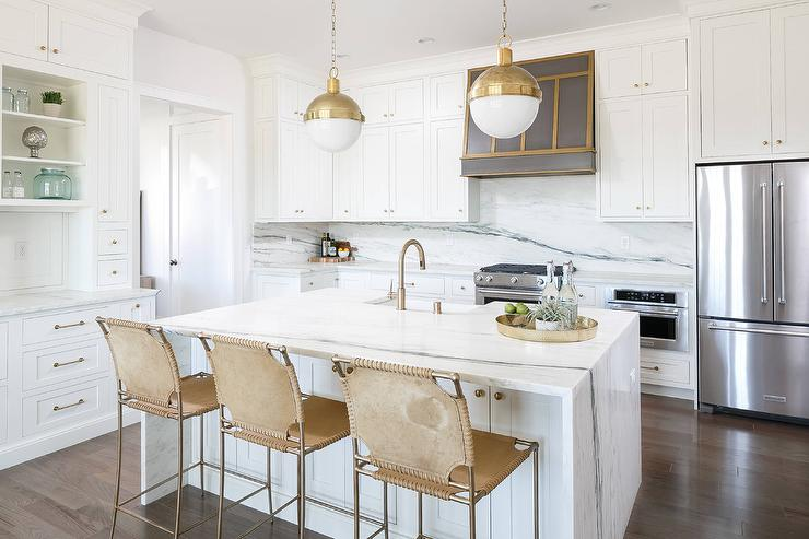 White Center Island With Gold Suede Counter Stools Transitional