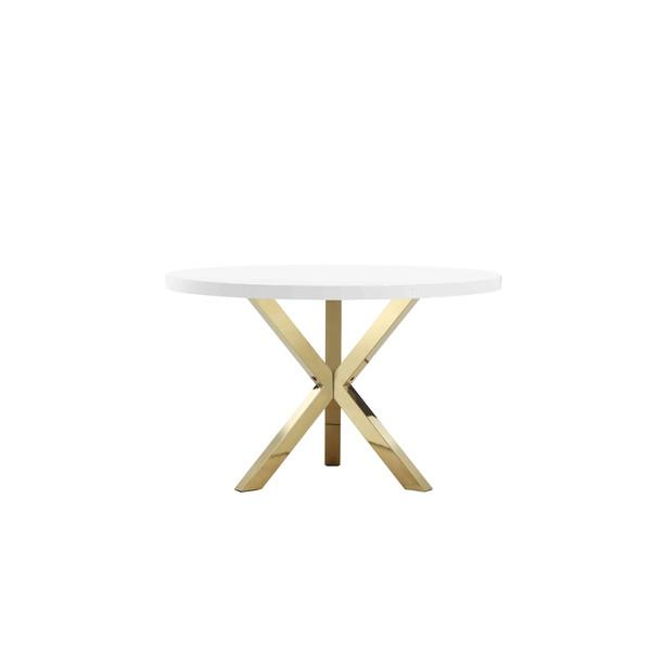 khloe round white gold dining table - Round White Dining Table