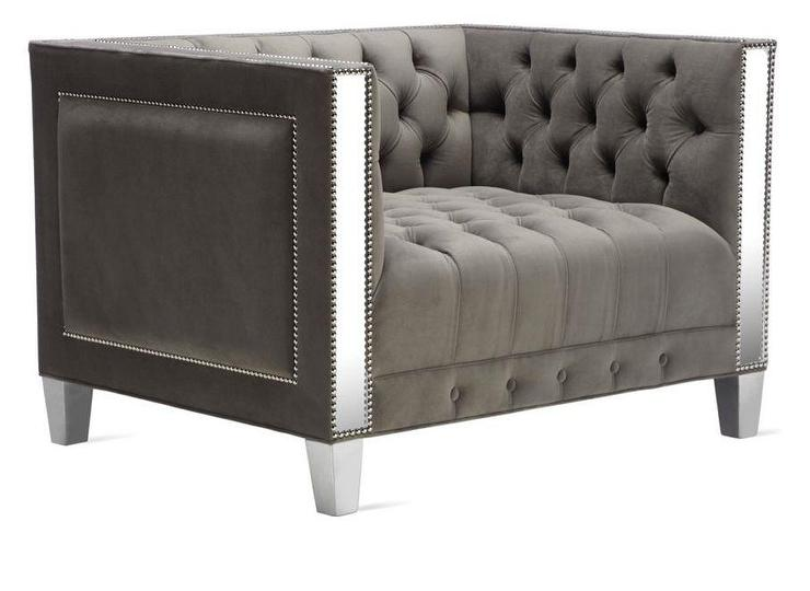 Plaza Grey Tufted Nailhead Accent Chair