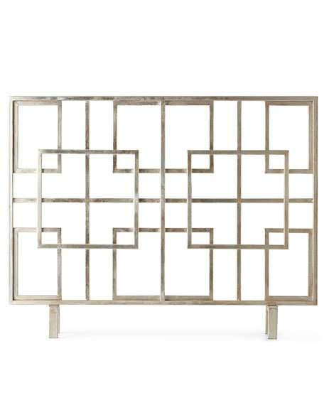 iron squares home antique dessau screen silver by fireplace