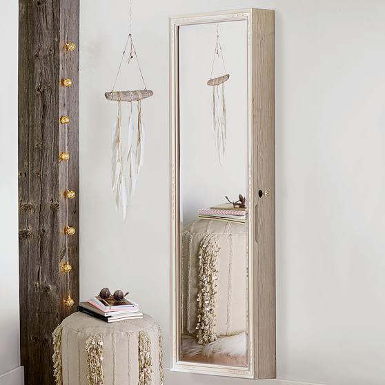 Heirloom wood full length jewelry wall mirror for Full length wall mirror