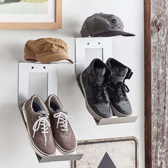 Shoe and hat metal wall organization for Sneaker wall display