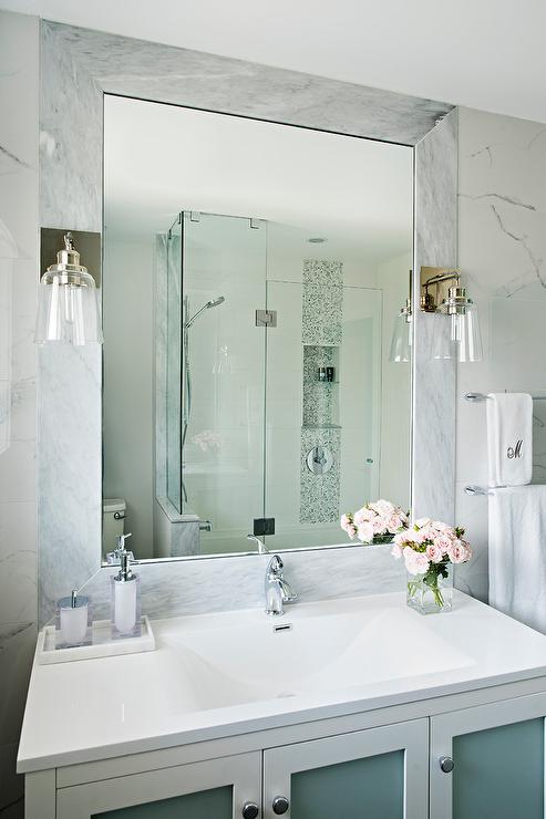 White Bath Vanity With Frosted Glass Doors Transitional Bathroom