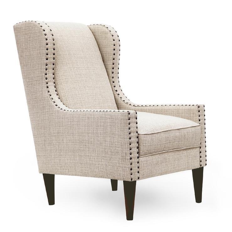Gray Nailhead Trim Wing Chair