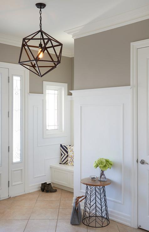 Gray Foyer Colors : Foyer with light taupe paint color transitional