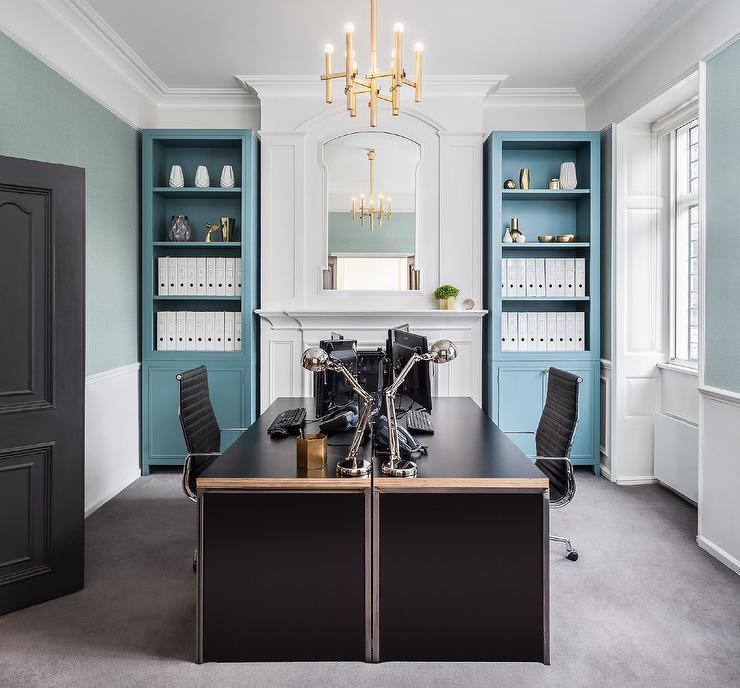Blue And Black Home Office With Face To Face Desks