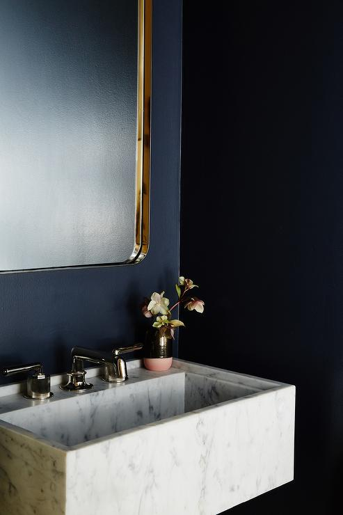 Navy Wall Color Powder Room Design