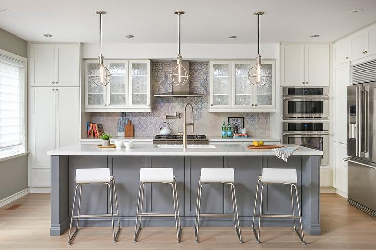 Off White And Gray Kitchen Design Transitional Kitchen