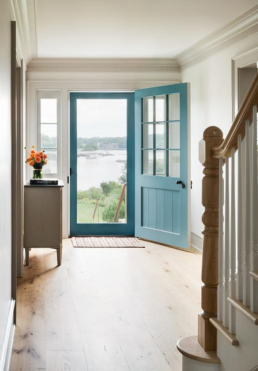 Blue Front Door With Screen