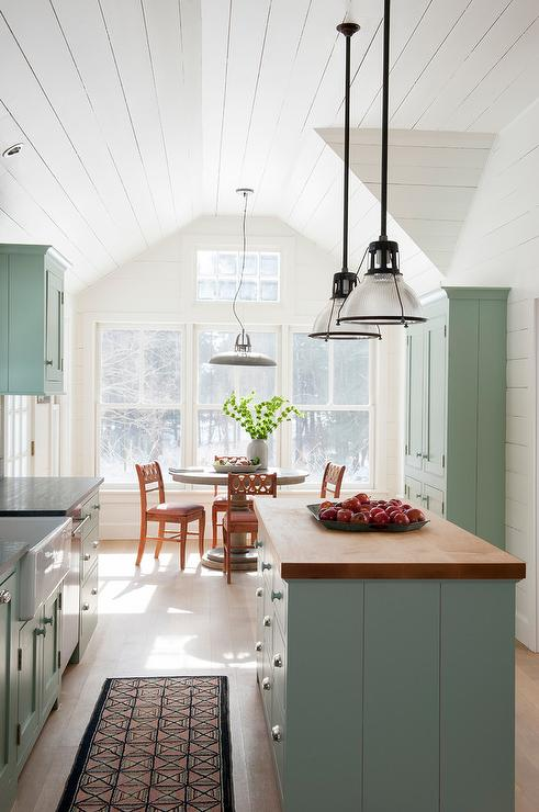 Pale Blue Kitchen With Vaulted Shiplap Ceiling