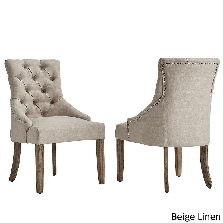 Benchwright Beige Linen Tufted Wingback Chairs