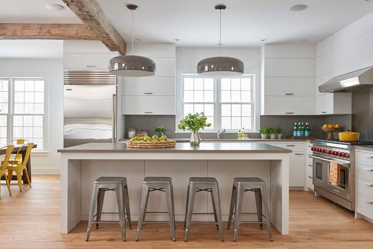 White And Gray Kitchen With Tolix Stools Transitional