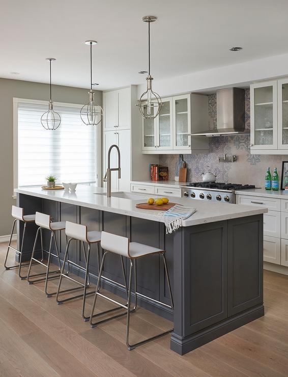 Gray Island With Cage Lanterns Transitional Kitchen