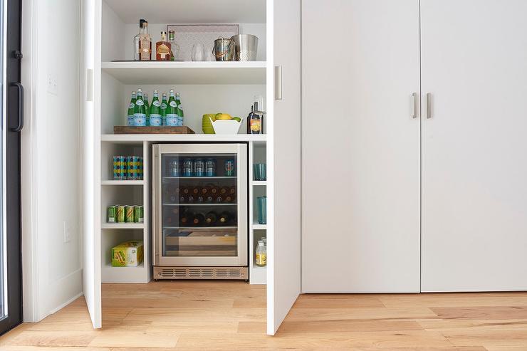Mini Bar Hidden Behind Pantry Doors