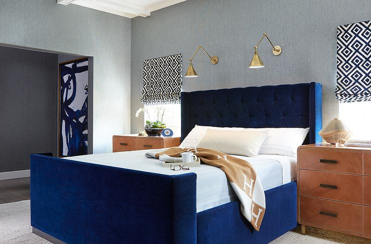 Blue Velvet Bed with Leather Nightstands - Contemporary