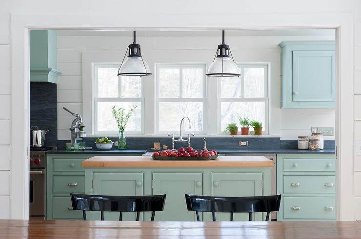 Light Blue Kitchen Cabinets With Dark Gray Counters View Full Size