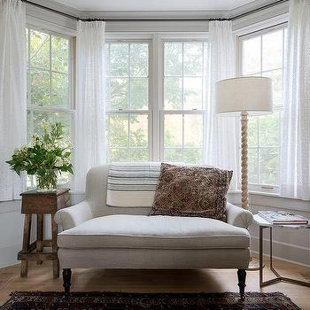 Heather Gray Roll Arm Settee In Bay Window