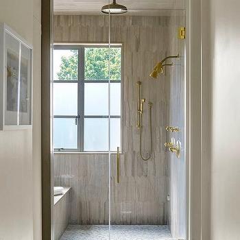 Gray Shower Surround With Brass Shower Kit